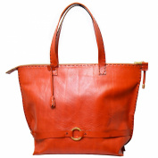 "Kilaccessori - Shopper ""Nina"" calfskin leather, warm autumnal red, with zipper. 100% Tuscan Leather"