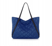 Cfanny Women's Plaid Quilted Hobo Shopper Tote Bag,Blue