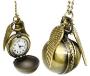 VStoy Harry Potter Golden Snitch Watch Necklace Steampunk Quidditch Pocket Clock