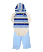 Baby Boys Blue & Cream Striped Hooded Romper 3Piece Suit SleepSuit Outfit Set