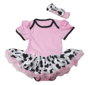 Cowgirl Pink Cotton Jumpsuit Bodysuit Cattle Tutu Baby Dress Romper Nb-18m
