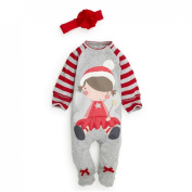 Happy Cherry Baby Kids Child Toddler Little Girls Cute Christmas Santa Clause Striped Romper LayetteCostume Clothing with Headband - 3-4Y