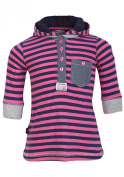 Baby Girls Pink And Navy Stripe Hooded Dress With Heart Buttons By Babaluno