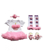 Anik Sunny Newborn Baby Girls Romper Dress Costume Clothes Jumpsuit 4Pcs Outfit Set Tutu Skirt Legging Warmer +Shoes+Headband