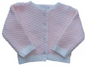 Zip Zap Baby Pink / White Knitted Cardigan up to 6 Months