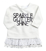 BABYTOWN Baby Girl New Cotton Glitter Party Outfit Top Jumper Lace Star Trim