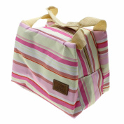 VANKER 1Pc Pink Striped Portable Insulated Outdoor Picnic Bag Lunch Container Box
