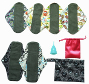 8 Pieces Menstrual Set 6 of Cloth Pads + 1 of Moon Cup + 1 of Mini Wet Bag
