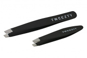 TWEEZTY High Quality TWEEZER Set - Professional Grade Stainless Steel TWEEZERs with Surgical Precision - Most Effective Way To Shape Eyebrows And Remove Ingrown Hairs.