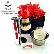 Men Shaving Sets Vintage DE long Handle Safety Razor Stand for Shaving Brush and Butterfly Opening Dorco Blades Stainless Steel Omega Shaving Brush Holiday Season good for sensitive skin