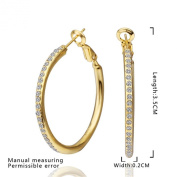 MR.TIE Fashion Jewellery Gold Plated Base Rhinestone Crystal Hoop Earring