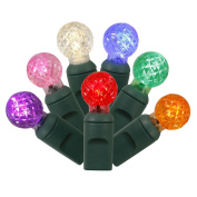 Vickerman 50-Light LED Multicoloured Green Wire G12 End Connecting Set with 15cm Spacing and 7.6m Length