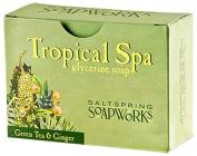 Saltspring Soapworks All Natural Tropical Spa Glycerin Soap Bar, Green Tea, 150ml