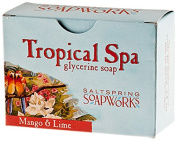 Saltspring Soapworks All Natural Tropical Spa Glycerin Soap Bar, Mango and Lime, 150ml