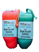 Body Bath Net Bar Soap Saver-Soap Lasts Longer-Coral & Turquoise Green-Total 2 Bar Savers