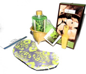 Bamboo Spa Bath Gift Set with White Tea Bath Soak, Green Tea Shower Gel, Body Puff & Eye Mask