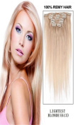 60cm 7pcs Silky Straight Full Head Remy Clip In Human Hair Extensions 80g/set #613 lightest blonde