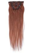 60cm 7pcs Silky Straight Full Head Remy Clip In Human Har Extensions 80g/set #30 light auburn