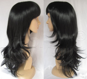 Liaohan® Bottom Wavy Black Wig Long Wavy Full Wig Synthetic Wigs for Women #2 Black