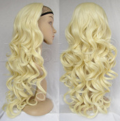 Liaohan® Bleach Blonde Wig Synthetic Half Wig Hair Fall Long Curly Wig Fall Highlights Blonde Hair Wig Curly Hair Wigs for Women #613