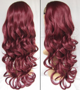 Liaohan® 2015 Fashion Burgundy Wig Fall 60cm Long Curly Half Wig Hair Fall Synthetic Hair Wigs for Women
