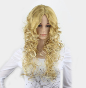 WY Blue Sky Girl Women 60cm Golden Creamy White Mixed Long Full Loose Big Curly Wave Layered Medium Flowing Centre Parting Synthetic Cosplay Wig Party Wig as Real Hair Sexy + Free Wig Cap