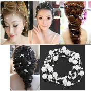 White Bride Wedding Party Hair Pearl Beaded Bridal Headpiece Tiara by 24/7 store