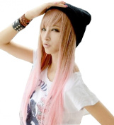 TopWigy Long Straight Brown to Pink Synthetic Hair Cosplay Party Wig