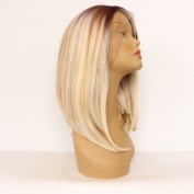 Ebingoo Handmade Short Bob Sliver Brown 2 Tones Ombre Synthetic Lace Front Wigs Straight Wig Heat Resistant Hair JLS054
