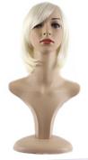 Xiaoyu Lifelike Oblique Bangs Short Straight BOB Wigs - Beige