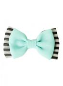Mint Black & White Striped Hair Bow