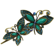 Newstarfactory Vintage Green Butterfly Jaw Rhinestones Hair Alligator Clip