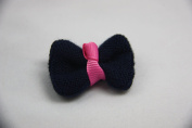 Knitted Bow Hair Clip (Navy)