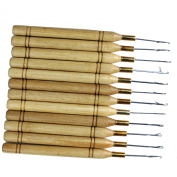 Dreambeauty 12pcs/lot Wooden Handle Latch Hook for Wig Ventilating High Quality Crochet Needles