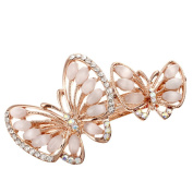 HSL Colourful Butterfly Shape Rhinestone Spring Hairpin For Hair Clip Tool-White