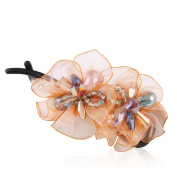 HSL Colourful Crystal Chiffon Hairpin Clip For Hair Clip Tools-Orange