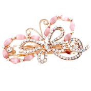 HSL Colourful Crystal Rhinestone Bowknot Hairpin For Hair Clip Tools-Pink