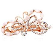 HSL Colourful Crystal Rhinestone Bowknot Hairpin For Hair Clip Tools-White