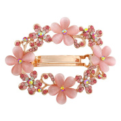 HSL Korean Pastoral Style Round Hollow Spring Top Hairpin For Hair Clip Tools-Pink
