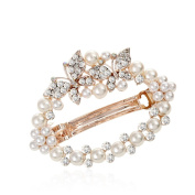 HSL Pastorable Hollow Pearl Bowknot Hairpin For Hair Clip Tools-White