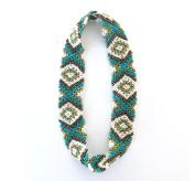 WigsPedia Native American Pattern Handmade Elastic Stretch Seed Bead Hair Accessories