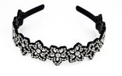 Yeshine Lady Rhinestone and Crystal Beaded Flower Design Plastic Headband, Hairband,White