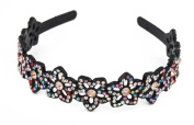 Yeshine Lady Rhinestone and Crystal Beaded Flower Design Plastic Headband, Hairband,Multicolor