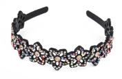 Yeshine Lady Rhinestone and Crystal Beaded Flower Design Plastic Headband, Hairband,Multicolor