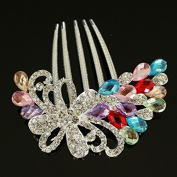 Flower Shaped Hair Accessories Rhinestone Alloy 5-Toothed Decorative Hair Combs Jewellery CS04