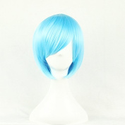 Aimer 32cm Heat Resistant Short Hair Blue Colour Spiral Cosplay Wigs for Women Girls