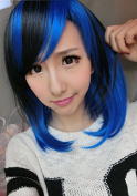 Aimer 36cm Short Heat Resistant Black Mixed with Blue Colour Spiral Cosplay Wigs for Women Girls