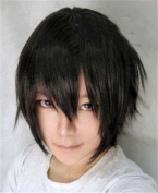 Aimer 30cm Heat Resistant Hair Black Colour Spiral Cosplay Wigs for Men