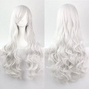 Aimer 80cm Heat Resistant Curly Hair Silver White Colour Spiral Cosplay Wigs for Women Girls