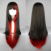 Aimer 68cm Heat Resistant Lolita Black Mixed with Red Colour Spiral Cosplay Wigs for Women Girls